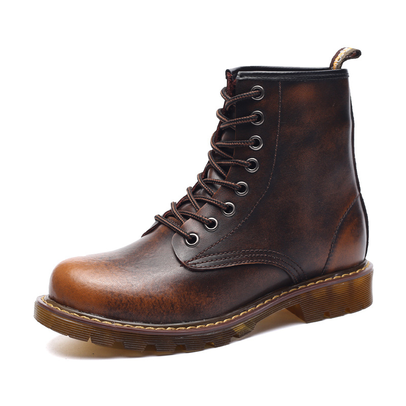 British retro Martin leather boots fashion men short boots trend tooling high boots<br><br>Aliexpress