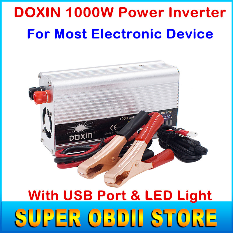 High Quality Doxin Car Power Inverter 1000W DC 12V To AC 220V Voltage Power Converters 1000 Watt With USB Port And 3 LED Lights(China (Mainland))