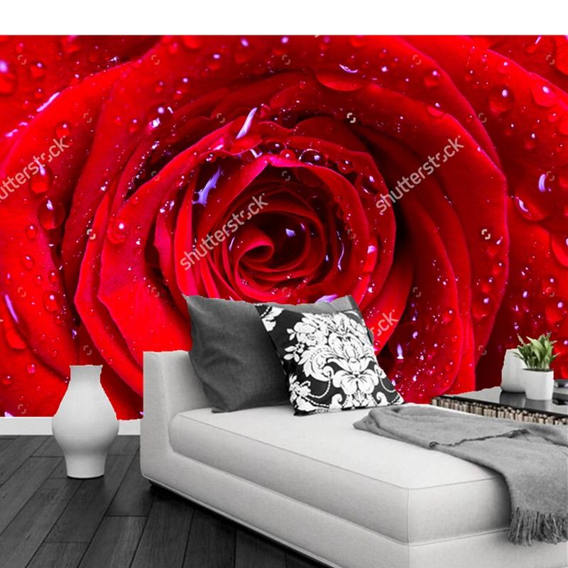 Popular red rose mural buy cheap red rose mural lots from for 3d rose wallpaper for bedroom