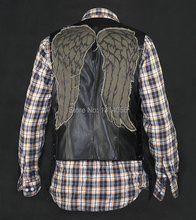 daryl dixon leather vest angel wings jacket Motorcycle vest(China (Mainland))
