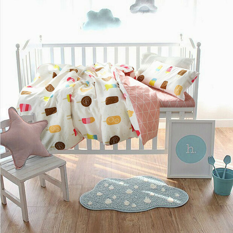 ice cream pattern coverlet bedding set cotton linens for babies/toddlers/kids 3/4pcs duvet cover+bedsheet+pillowcase cushion(China (Mainland))