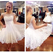 Vestido De Noiva 2015 A-line Short Wedding Dress Scoop Sleeveless Backless Knee Length White Applique 2016 Lace Wedding Gowns(China (Mainland))