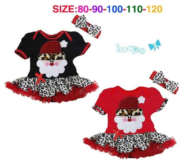 New Design girls short sleeve Christmas Santa Claus dress with leopard hem 2pcs set Children kids Xmas dresses fashion wear 5pcs(China (Mainland))