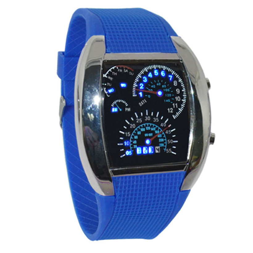 Creative Fashion Aviation Style Turbo Dial Flash LED Watch Best Gift Mens Women Car Meter Digital Watch(China (Mainland))