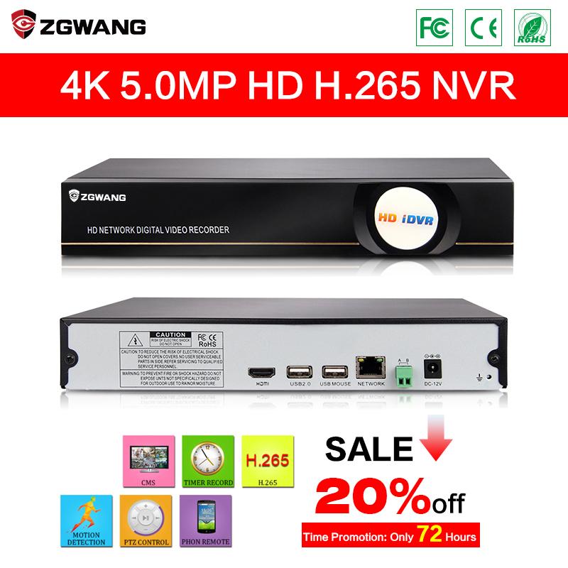 ZGWANG NVR H265 4CH 5MP NVR HDMI Recorder H265 CCTV Network NVR 4Channel H.265 NVR System Security HybridVideo Recorder(China (Mainland))