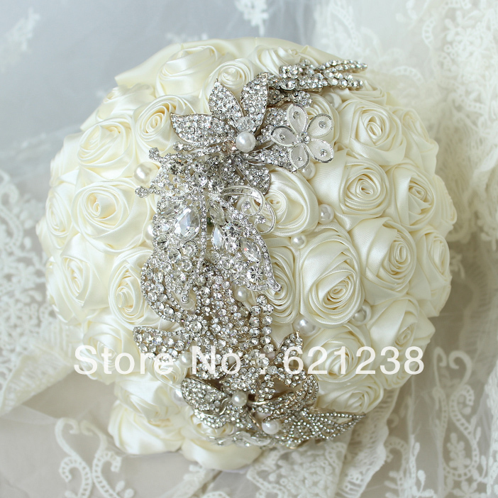 10 Inch Ivory Roses Wedding Bouquet Simple Stylish Brooch Bridal Bouquets Jewelry Bouquet