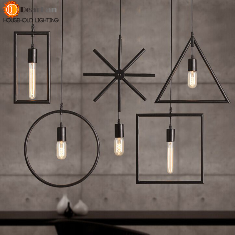 Free Shipping One Sample Order New Style Geometrical Figure Simple Iron Black Finished  Pendant Lamp<br><br>Aliexpress