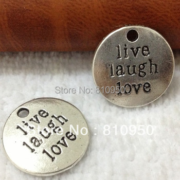 "50pcs/Llot) 20mm Metal/Alloy Antique Silver Lettering ""LIVE LAUGH LOVE"" hang tag Charms Pendant Jewelry Base settings Finding"