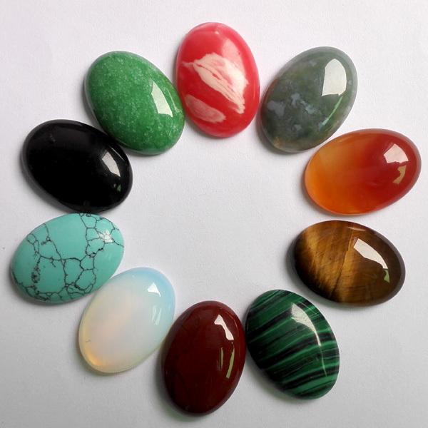 Free shipping 10pcs/lot 25mmx18mm Mixed Natural stone Oval CAB CABOCHON teardrop Wholesale rose quartz/Tiger eye stone beads(China (Mainland))