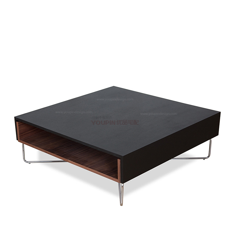 The New Scandinavian Designer Stainless Steel Frame Black Oak Coffee Table Minimalist Fashion