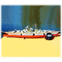 rc boat Bismarck 1/300th scale Fiberglass hull, Wooden deck with motor  RC02(China (Mainland))
