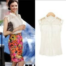 Women Lace Chiffon Sleeveless Lace Shoulder Splice Shirt Vest Chiffon Tops womens blouse free shipping(China (Mainland))
