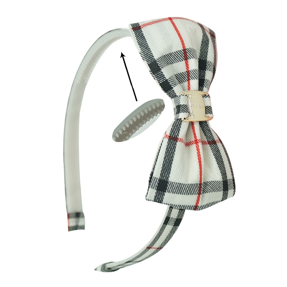 """3.5 """" Hand Made Plaid Grosgrain Ribbon Hair Bows With Plaid Hair Bands For Girls Kids Boutique Hair Bands With Teeth Accessories(China (Mainland))"""