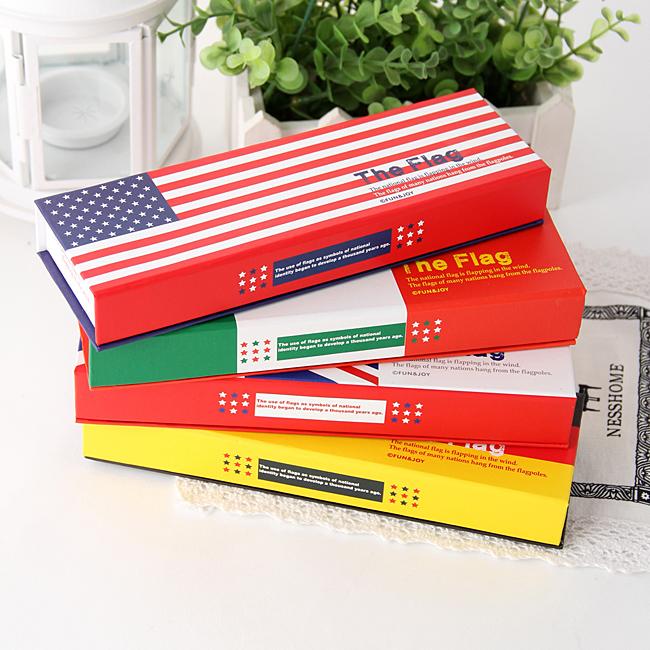 Free Shipping Korea stationery lovely fresh pencil box national flag carton student stationery storage box(China (Mainland))