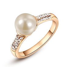 ROXI Brand Elegant Imitation Pearl Rings For Women Girls Rose White Gold Plated Party Rings Jewelry Birthday Gifts(China (Mainland))