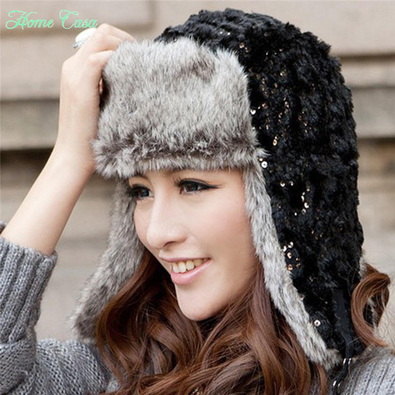 Trooper Hat Women Earflap Russian Ski Faux Fur Winter Trapper Beanie Ear Cap with Sequin 027(China (Mainland))