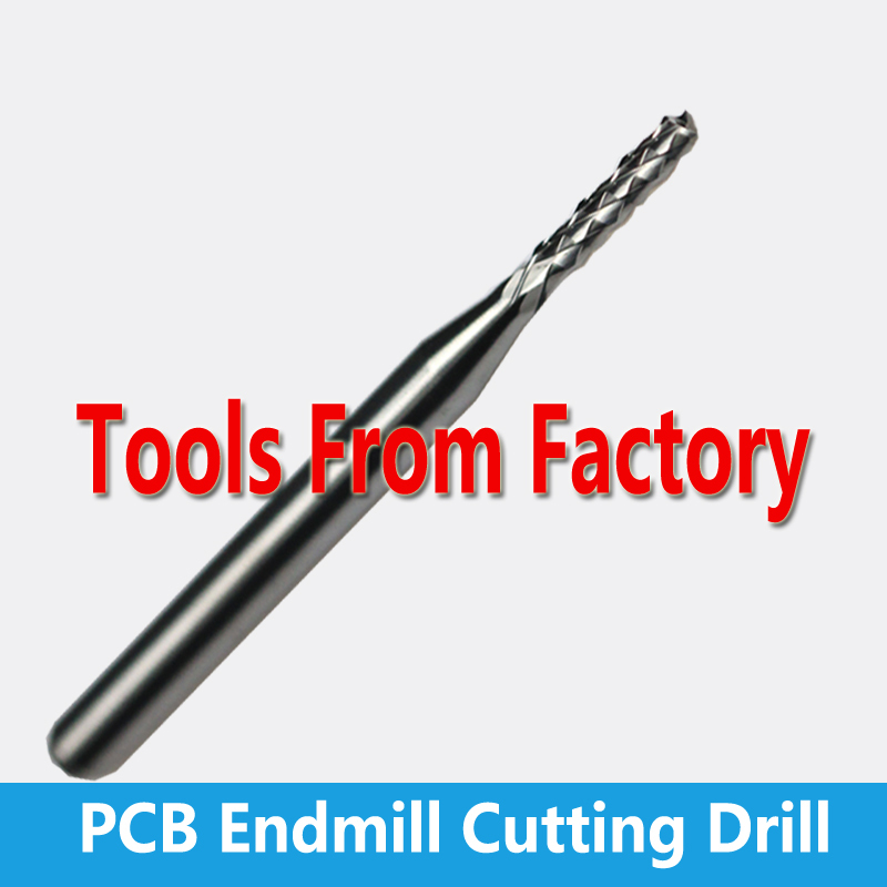 10pc 3.175 mm SHK Carbide PCB CNC Engraving Bits Carbide End Milling Cutter cutting Drill Hole endmill(China (Mainland))