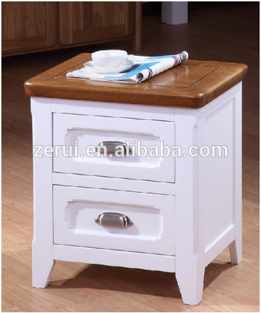 Wooden furniture solid oak white 2 drawer bedside cabinet(China (Mainland))