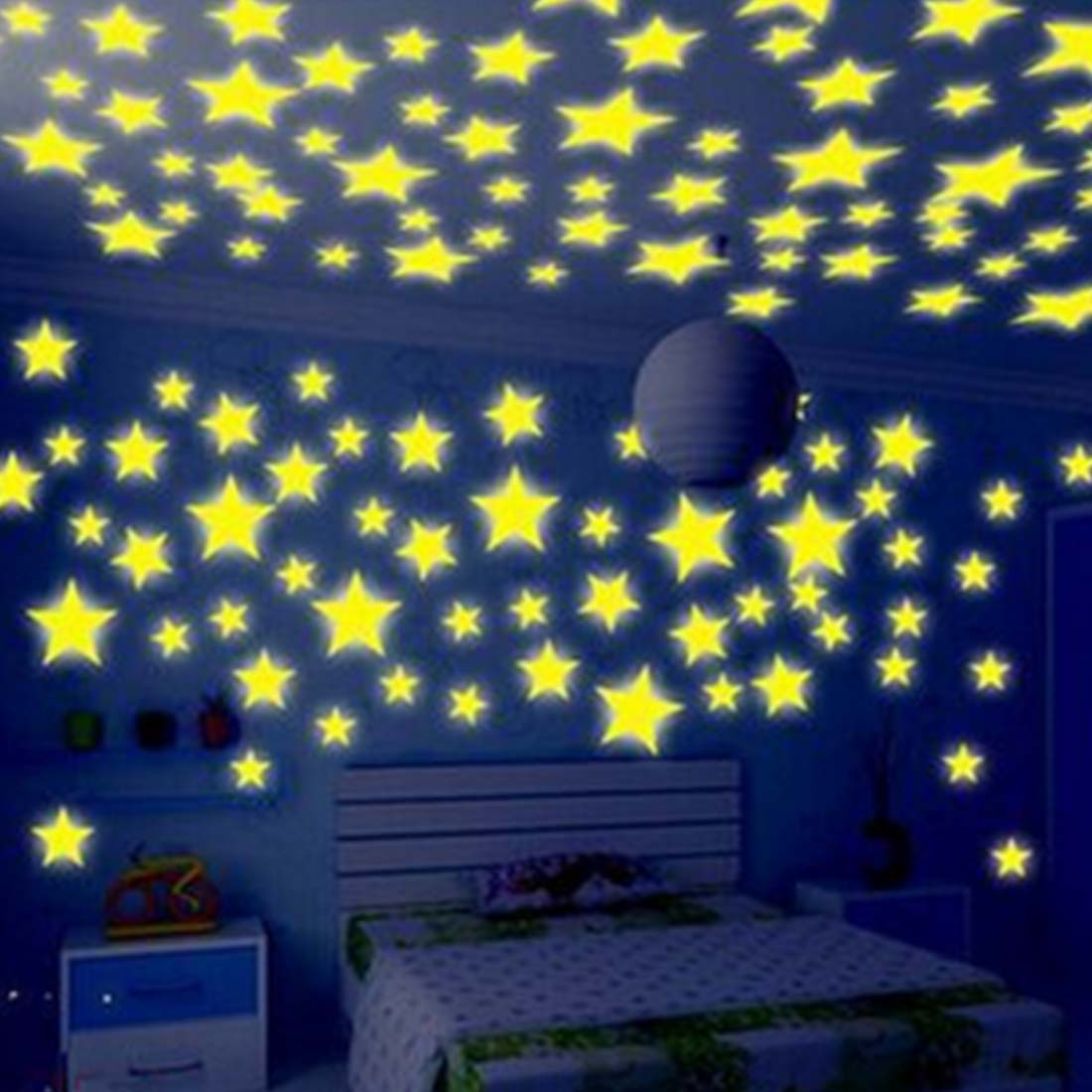 100 pcs/set Luminous PVC Decal Glow In The Dark Baby Kids Bedroom Home Decor Color Stars Luminous Fluorescent Wall Sticker Decal(China (Mainland))