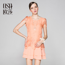 Osa women's embroidered patchwork OL outfit l31736 short-sleeve dress L31736(China (Mainland))