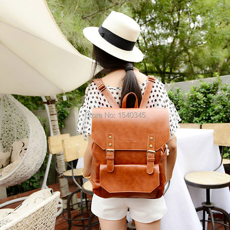 2015 New Retro pumping belt hook bag women backpack PU leather women's casual day packs school backpacks FREE SHIPPING(China (Mainland))