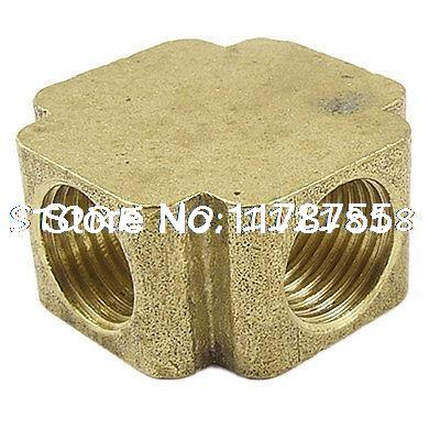 """Brass Pipe Fitting 4 Way Equal Female Cross Connector Coupling 1/4"""" NPT(China (Mainland))"""