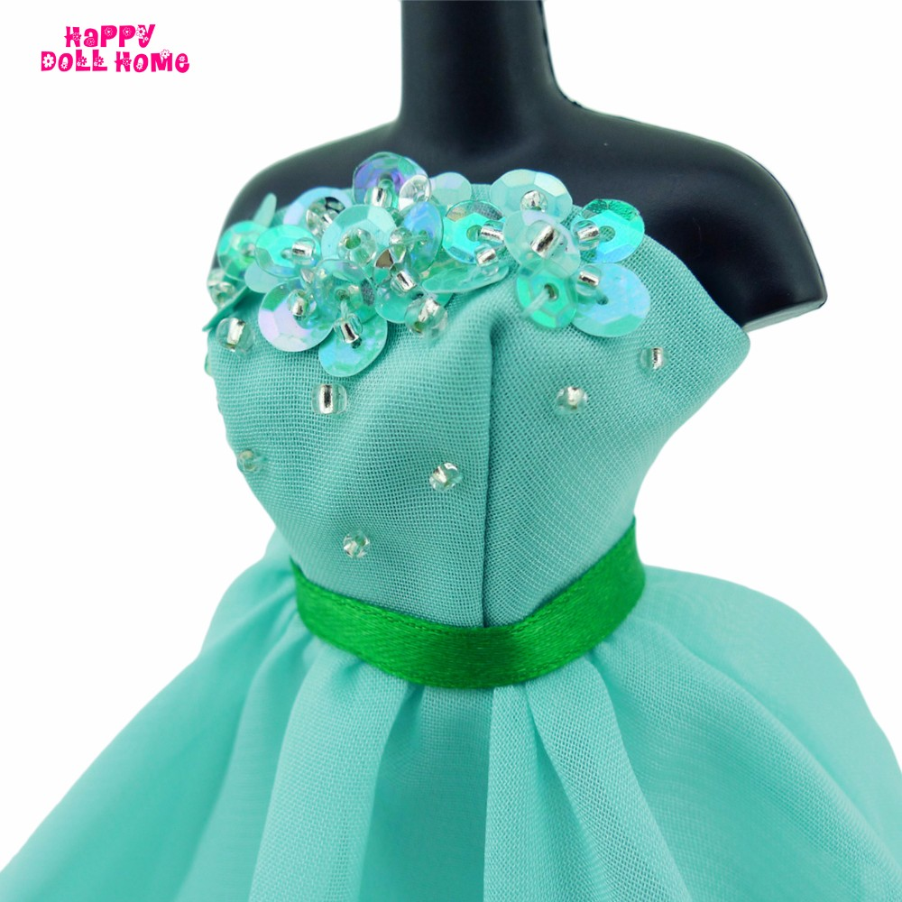 Strapless Princess Robe Wedding ceremony Dinner Social gathering Gown Dollhouse Costume Belt Inexperienced Garments For Barbie FR Doll Equipment DIY Present