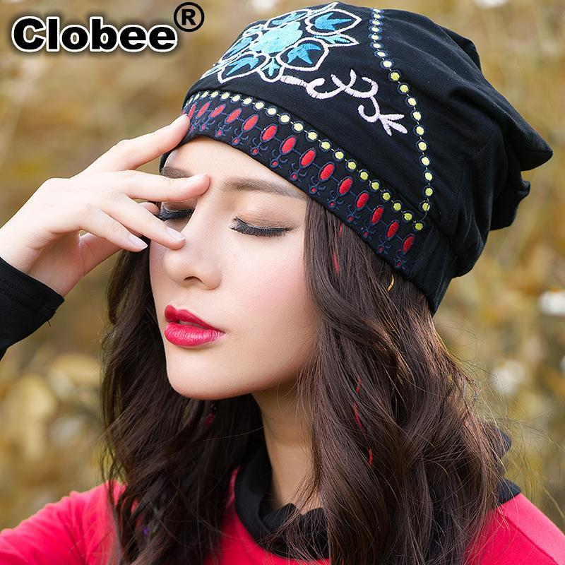 Ethnic skullies beanies women autumn spring Mexican style hippie black blue red floral embroidery hat beanies(China (Mainland))