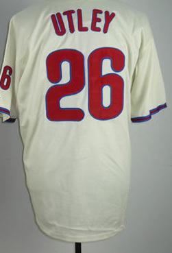 Top quality Baseball tshirt 26 UTLEY cream/white/ black jersey chase utley jersey baseball jerseys(China (Mainland))