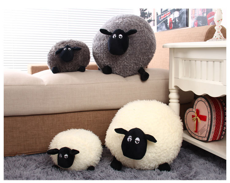 New 1 Piece Lovely Stuffed Soft Plush Toys Cushion Sheep Character White/Gray Kids Baby Toy Gift H0851(China (Mainland))