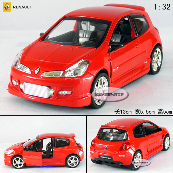 New Renault Clio 1:32 Alloy Diecast Model Car With Sound&Light Red Toy collection B192c(China (Mainland))