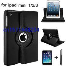 360 Rotation PU Leather case for Apple ipad mini1/2/3 Smart case flip cases stand case for iPad Mini Retina Fundas+film+pen(China (Mainland))
