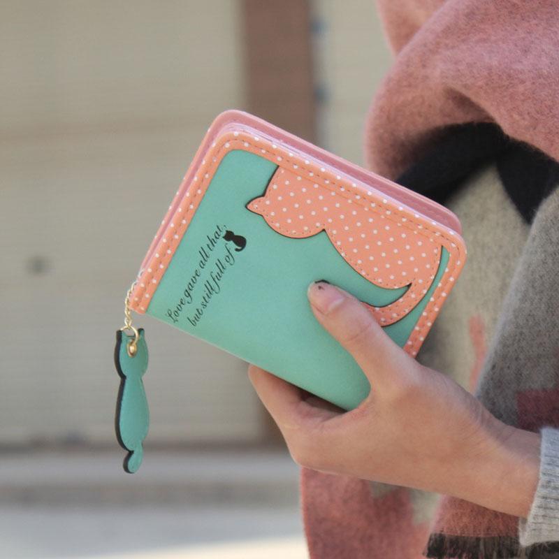 HTB1JjeoMpXXXXbvXXXXq6xXFXXX1 - Fashion Small Wallet Women Short Luxury Brand Cute Female Purse PU Leather Cat Design Girls Lady Zipper Wallets Card Holder Bags