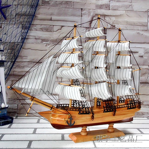 50cm wooden sailboat ornaments handmade wood crafts gift Mediterranean style Home Decoration(China (Mainland))