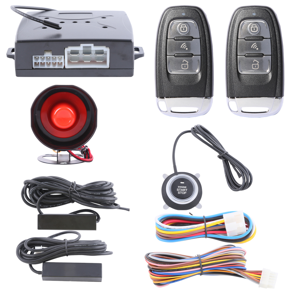 Good use!!Car alarm system PKE on/off by remote control, passive keyless entry and push button start/stop remote engine start(China (Mainland))