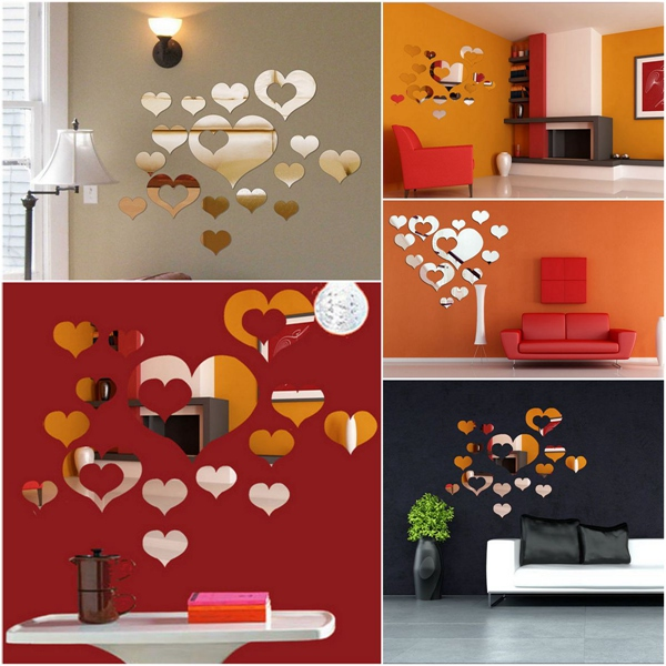 New Arrvial 15PCS 3D DIY Love Heart Mirror Surface Art Acrylic Wall Sticker Home Decal Decor Best Promotion(China (Mainland))