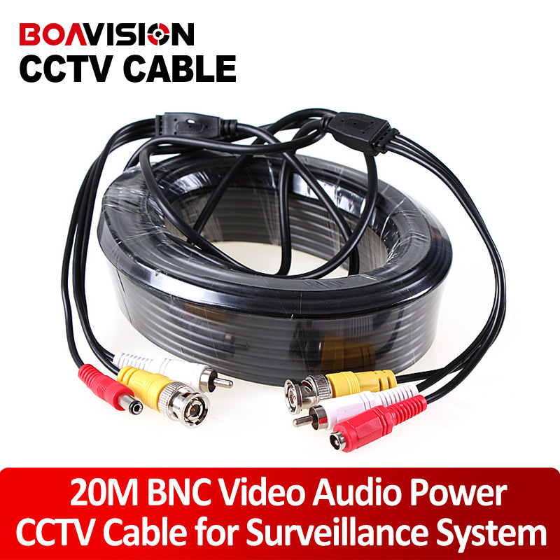 1 x 65FT/20M Audio Video Power AV Black Cable w BNC Connector coaxial cable for DVR CCTV Security Surveillance Camera(China (Mainland))
