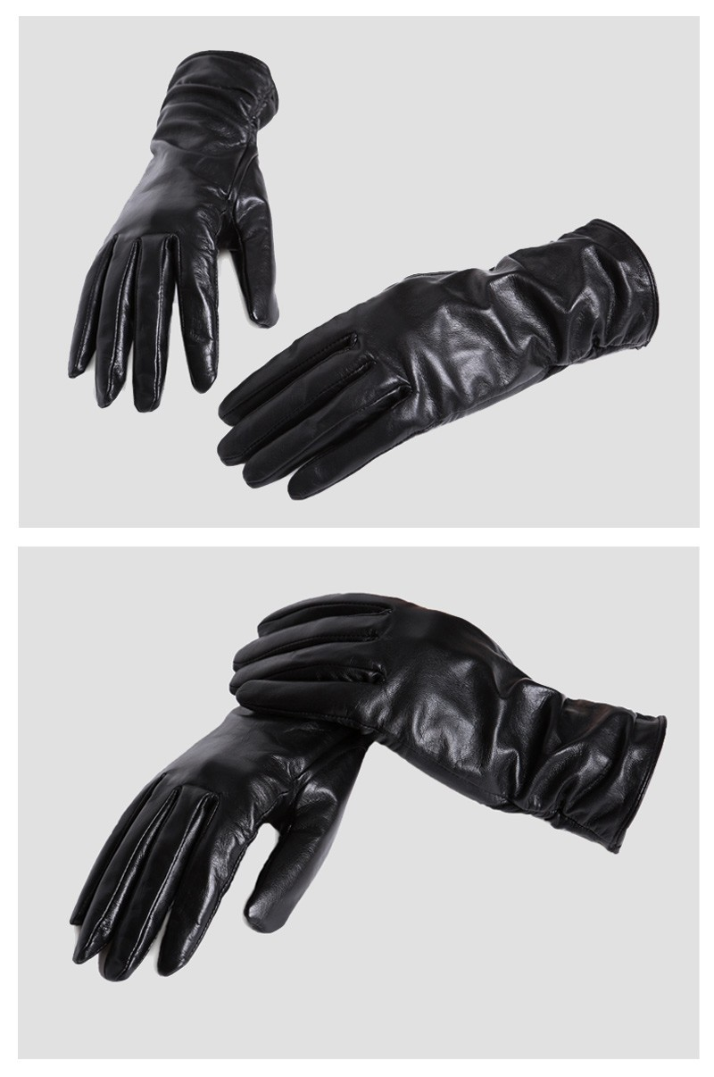 Solid color women leather gloves
