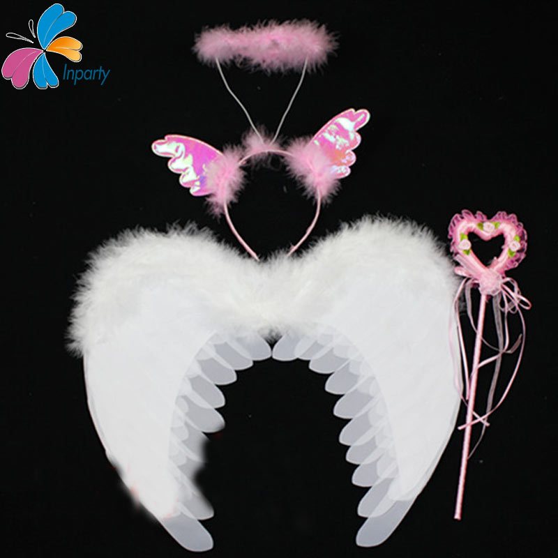 3Inparty 2016 New Cosplay White Feather Wing And Pink Set Kids Performance Prop Children Party Fairy Wing Magic Wand Headband(China (Mainland))