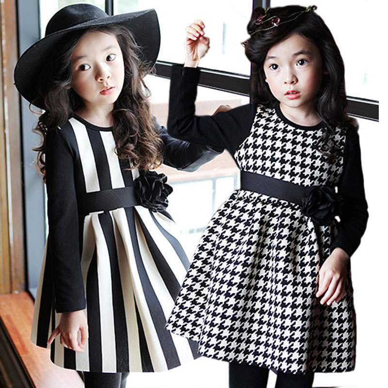 2015 long-sleeve baby dress children casual brand princess dress toddler girl fashion striped cotton Sundresses 4-8 years old(China (Mainland))