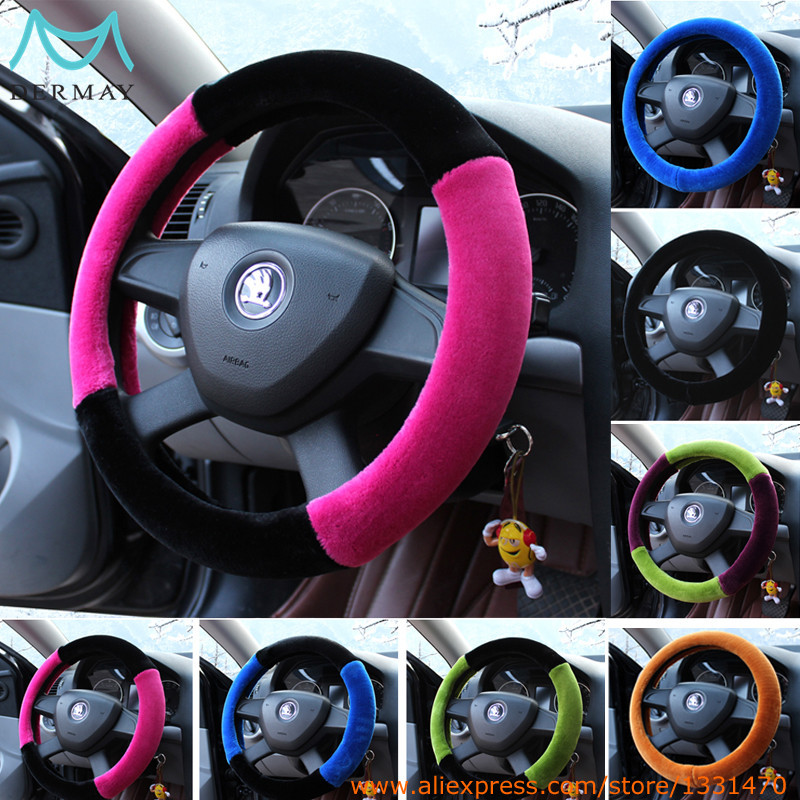12 colors winter plush fur car steering wheel cover for 95 car styling 38cm cheap. Black Bedroom Furniture Sets. Home Design Ideas