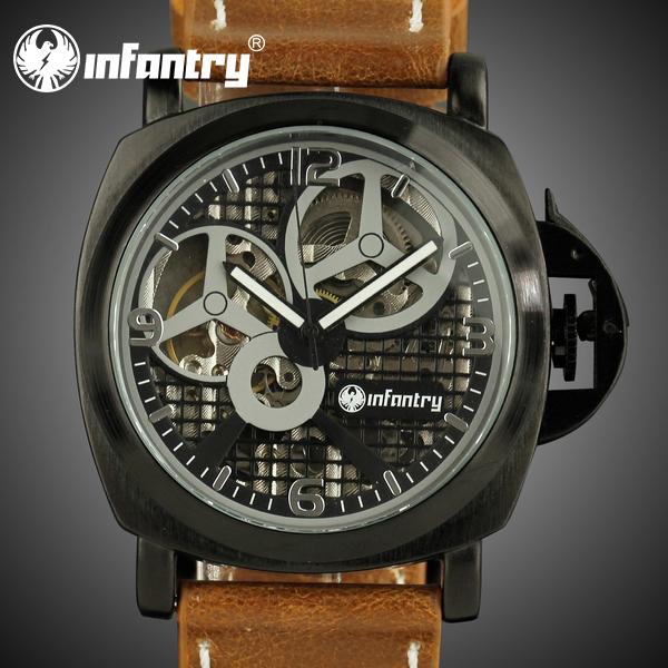 INFANTRY Men's Watches Classic Vintage Style Brown Leather Hand Winding Mechanical Skeleton Wrist Watch NEW(Hong Kong)