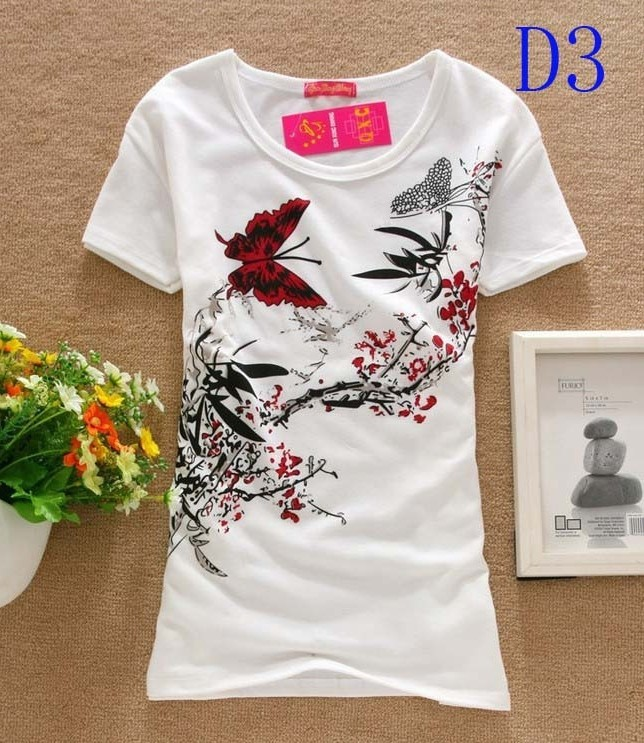 Hot sale!!! Free shipping 2014 Fashion Good Quality Cotton T Shirt Women Butterfly Tops Round T-shirts tee shirts for women SD3(China (Mainland))