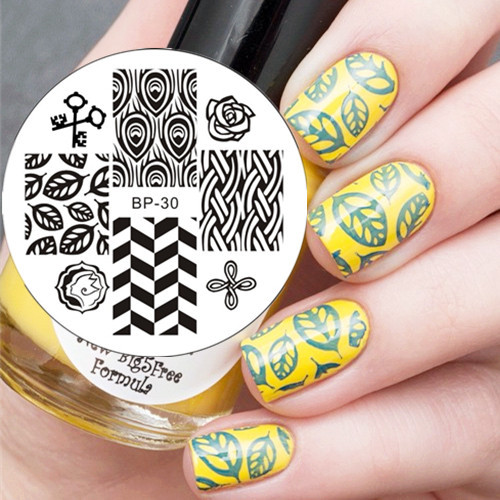 Feather &amp; Leaves Pattern Nail Art Stamp Template Image Plate BORN PRETTY BP30 <br><br>Aliexpress