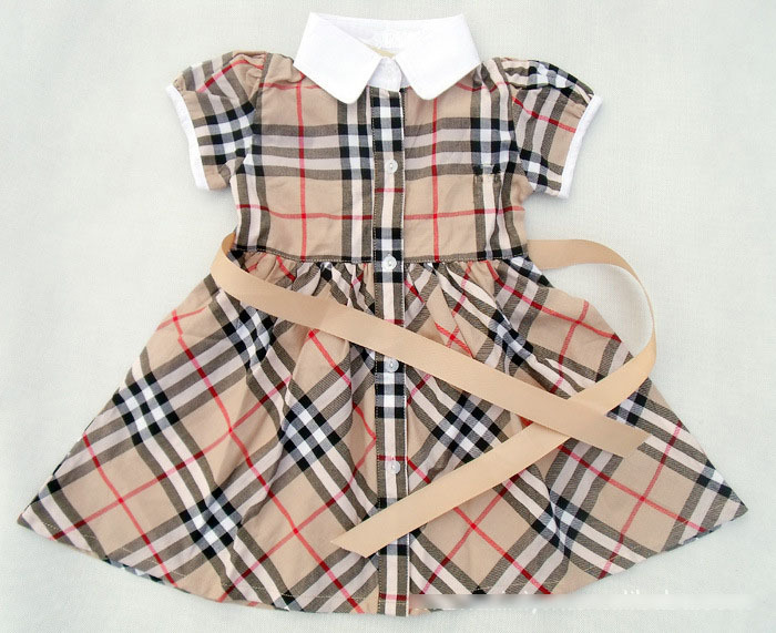 2015 new Brand plaid dress girls short-sleeve summer children's clothing princess tennis dress 2-6T fashion baby girl clothes(China (Mainland))