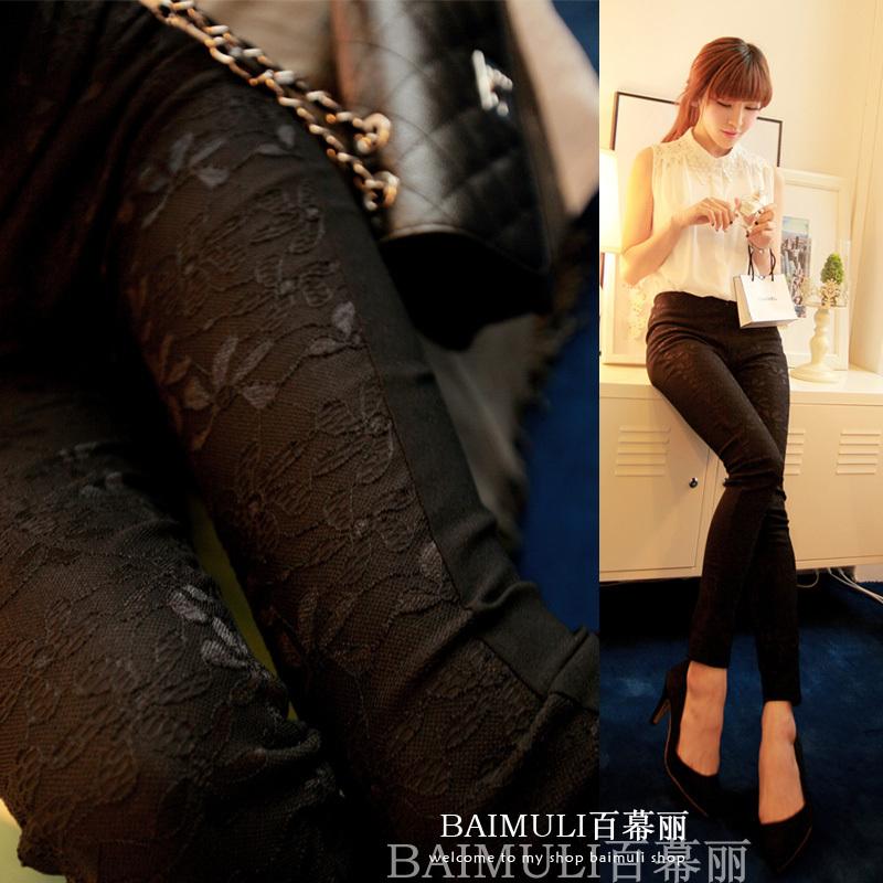 l-485 новый черный белый кружевной цветок вышивка плюс размер высокая эластичность карандаш брюки моды женщин тощий леггинсы осень