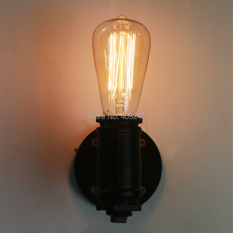 Loft retro wall lamp Wrought iron cafe Edison creative industrial wind pipe wall lamp bulb warehouse<br><br>Aliexpress