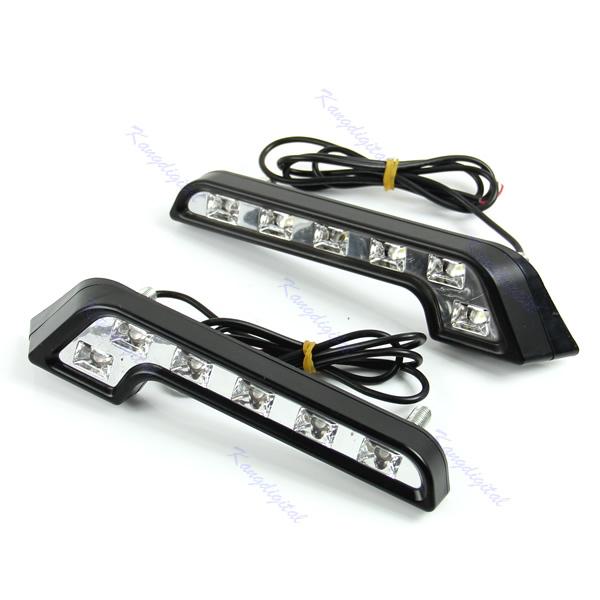 1pair  6 LED White Universal Car Auto Driving Lamp Fog 12V DRL Daytime Running Light