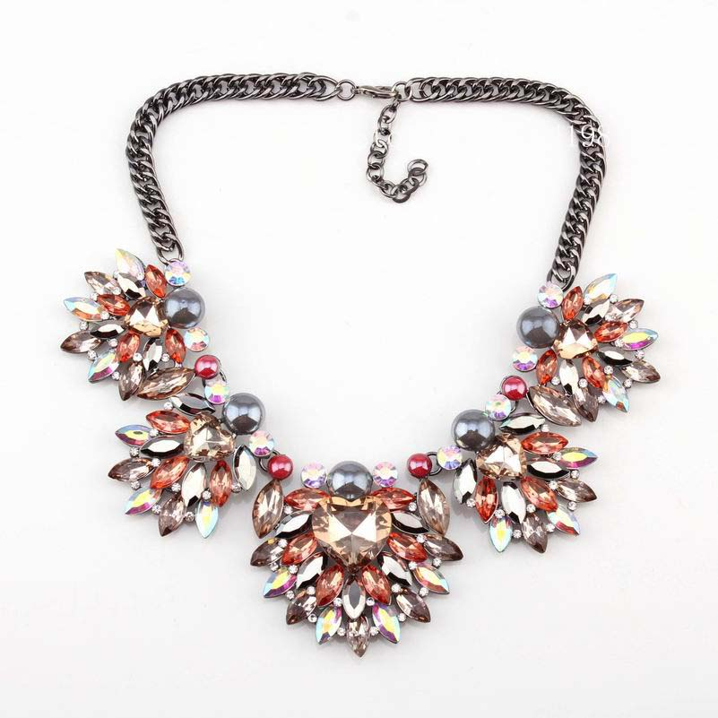new arrival design fashion brand heart necklace colorful crystal pendant black chain statement necklace for women wholesale(China (Mainland))
