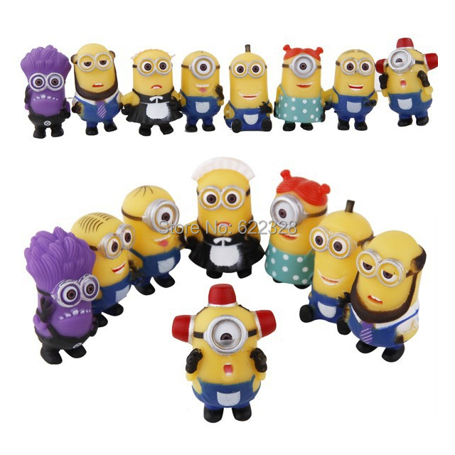 16pcs/lot Hot 4-6cm Mini Despicable ME Yellow Minion Toys Kids Cute Dolls kids PVC Movie Figures Minions Doll Puppets Model Gift(China (Mainland))